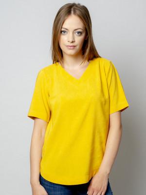 Żółta bluzka oversize z krótkim rękawem