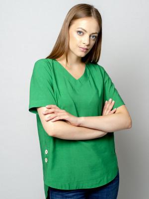 Zielona bluzka oversize z krótkim rękawem