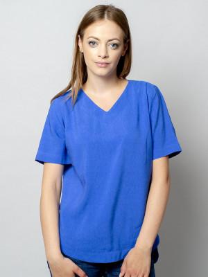 Modrakowa bluzka oversize z krótkim rękawem