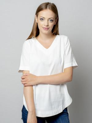 Biała bluzka oversize z krótkim rękawem
