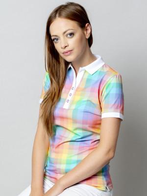 Koszulka polo w kolorową kratę