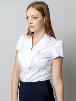 Biała bluzka damska głębokim dekoltem i plisowaniem