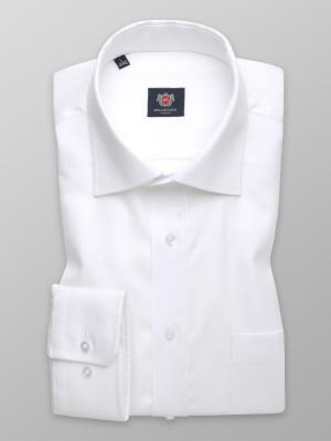 Biała taliowana koszula z włoskim kołnierzykiem