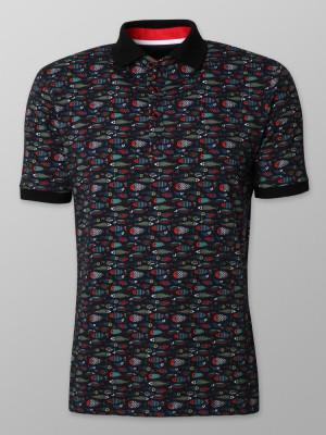 Czarna koszulka polo w kolorowe ryby