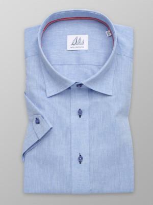 Niebieska taliowana koszula z dodatkiem lnu