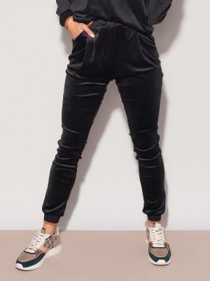 Czarne spodnie dresowe z weluru