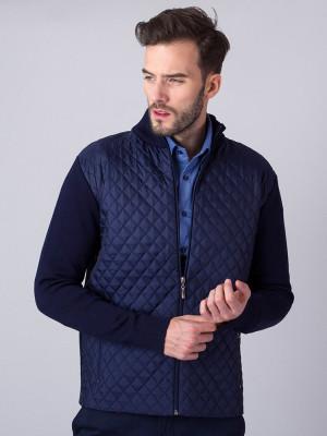 Granatowy sweter rozpinany z pikowanym przodem