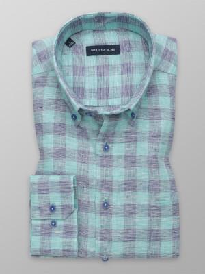Lniana klasyczna koszula w kratę