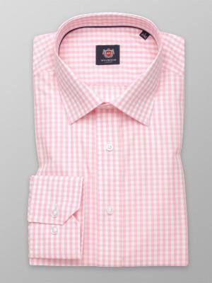 Biała taliowana koszula w różową kratkę gingham