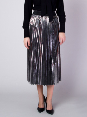 Długa srebrna spódnica plisowana