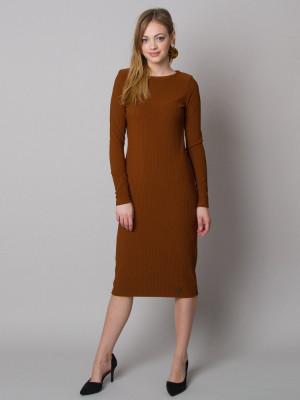 Brązowa sukienka dzianinowa