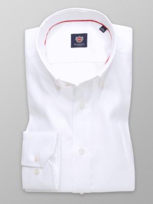 Biała taliowana koszula z podpinanym kołnierzykiem