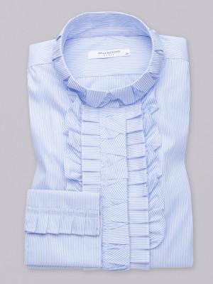 Bluzka w błękitno-białe paski z plisowaniem