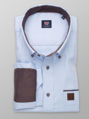 Błękitna klasyczna koszula z brązowymi kontrastami