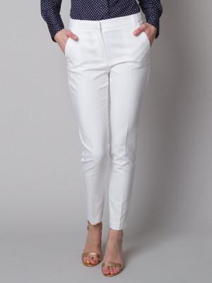 Białe klasyczne spodnie garniturowe