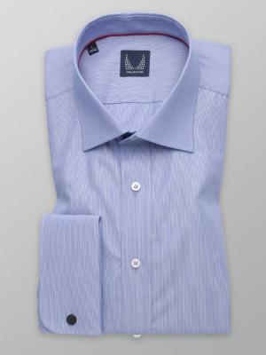 Niebieska taliowana koszula na spinki