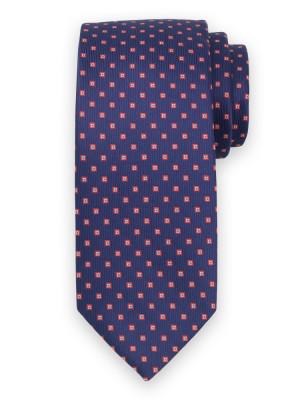 Granatowy krawat w kwadraty