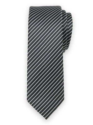 Czarny krawat w srebrny prążek
