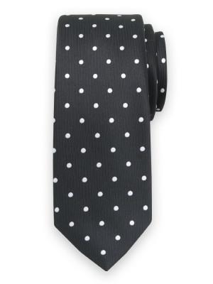 Czarny krawat w groszki