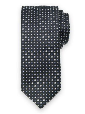 Czarny krawat w geometryczne wzory