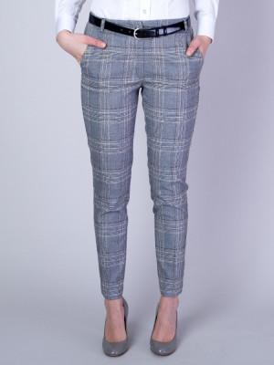 Szare spodnie garniturowe w kratę