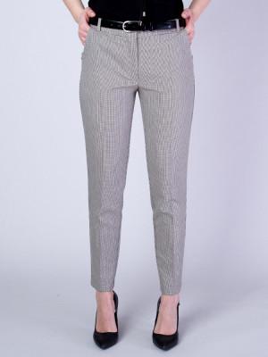 Brązowe spodnie garniturowe w pepitkę