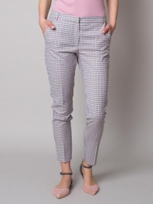 Spodnie garniturowe w szaro-różową kratkę