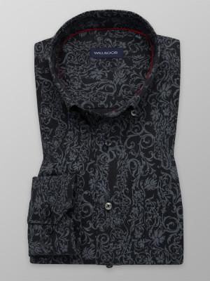 Ciemnogranatowa klasyczna koszula w błękitny wzór