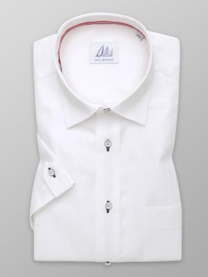Biała taliowana koszula z dodatkiem lnu