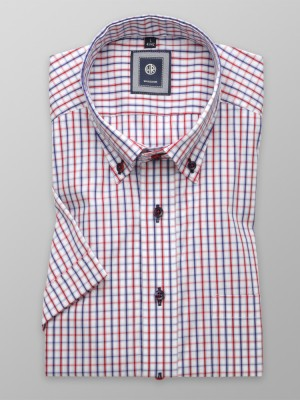 Biała taliowana koszula w kratkę