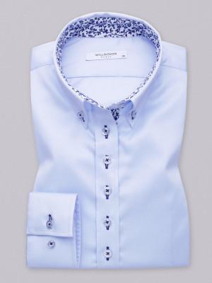 Błękitna bluzka z niebieskimi kontrastami typu long size