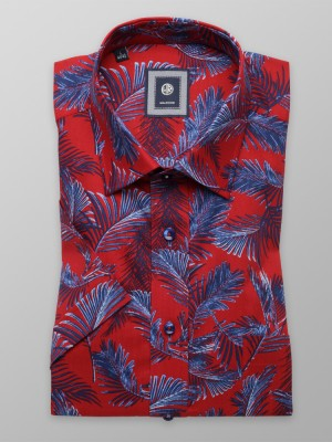 Czerwona klasyczna koszula w liście