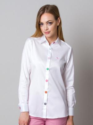 Biała bluzka z dużymi kolorowymi guzikami