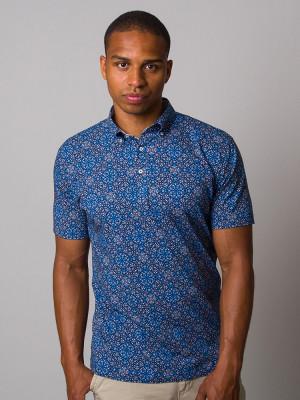 Granatowa koszulka polo w geometryczne wzory