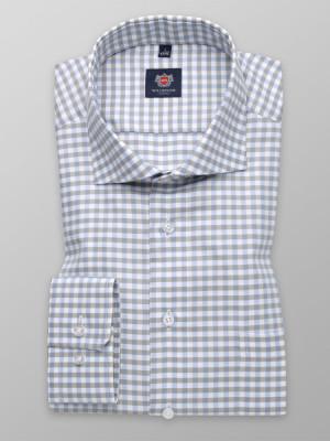 Taliowana koszula w szaro-błękitną kratkę