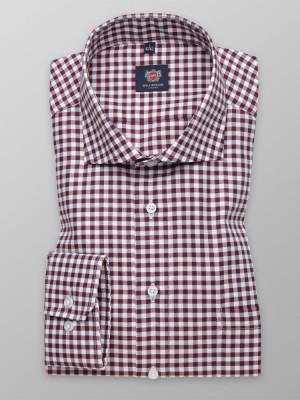 Taliowana koszula w szaro-bordową kratkę