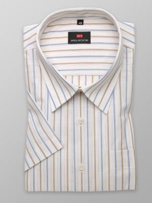 Klasyczna jasnobeżowa koszula w paski