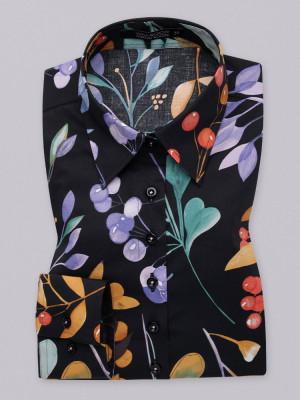 Czarna bluzka w kolorowe kwiaty