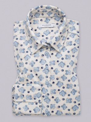 Kremowa bluzka oversize w niebieskie kwiaty