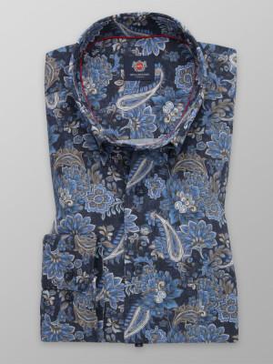 Granatowa klasyczna koszula w kwieciste wzory