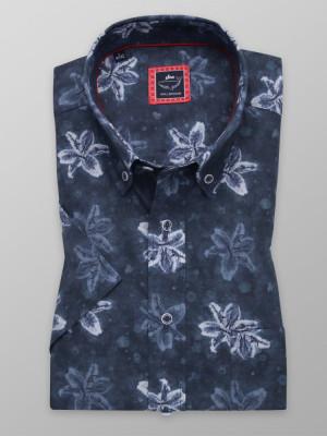 Granatowa klasyczna koszula w kwiaty