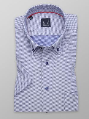 Granatowa taliowana koszula w białe groszki