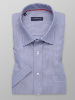 Niebieska taliowana koszula w prążki