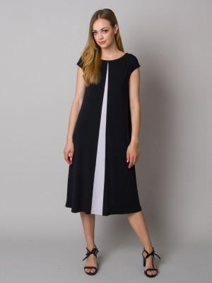 Długa czarna sukienka z kontrastem