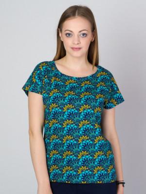 Turkusowy t-shirt w roślinne motywy