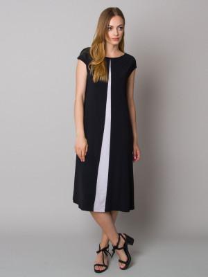 Długa granatowa sukienka z kontrastem