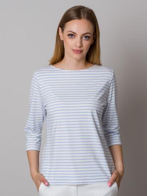 Biały t-shirt w błękitne paski
