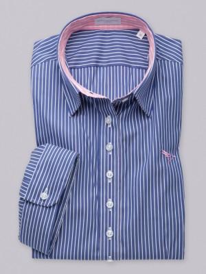 Niebieska bluzka w paski z krótkim rękawem