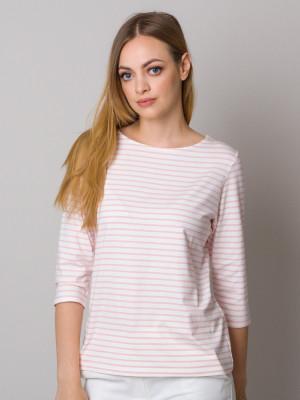 Biały t-shirt w różowe paski