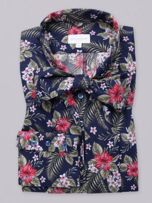 Granatowa bluzka w kwiaty